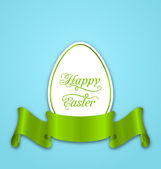 Label with ribbon as Easter paper egg — Stock Vector