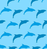 Seamless Pattern with Dolphin, Marine Mammal Animal — Stock Vector