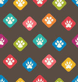 Seamless Texture with Colorful Traces of Cats, Dogs. Footprints  — Vector de stock