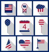 Ikoner som Usa flagga färg självständighetsdag 4 juli — Stockvektor