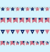 Hanging Bunting pennants for Independence Day USA, Patriotic Sym — Stock Vector