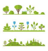 Collection set flat icons tree, pine, oak, spruce, fir, garden b — Stockvektor