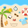 Summer Time Background with Flat Set Colorful Simple Icons on th — Stock Vector #70865529