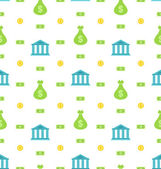 Seamless Pattern with Bank Institution, Bank Notes, Business Background — Stock Vector