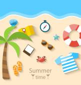 Summer Time Background with Flat Set Colorful Simple Icons on th — Stok Vektör