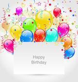 Birthday Invitation with Multicolored Balloons and Confetti — Stock Vector