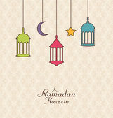 Celebration Islamic Card with Arabic Hanging Lamps for Ramadan K — Stock Vector