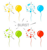 Set Colorful Popped Balloons Isolated — Stock Vector