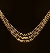 Beautiful Golden Chains Isolated on Black Background — Stock Vector