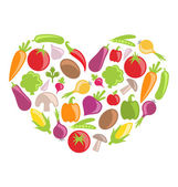 Zestaw kolorowych warzyw w kształcie serca — Wektor stockowy