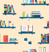 Seamless Texture with Books on Bookshelves — Stock Vector