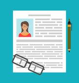 Writing a Business CV Resume — Stock Vector