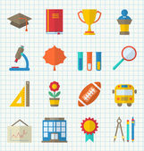 School Colorful Icons — Stock Vector