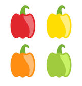 Set Colorful Bell Peppers Isolated — Stock Vector