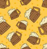Seamless Wooden Foam Beer Mugs — Stock Vector