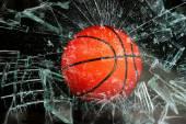 Basketball through glass. — Stock Photo