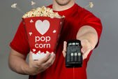 Pop Corn and Remote Control. — Stock Photo