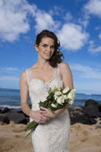 Young Bride on Beach. — Stock Photo
