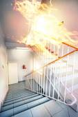 Fire in the builgding - evacuate building way — Stock Photo