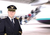 Upset pilot waiting for the departure at the airport — Stock Photo