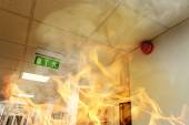 Big fire in the modern office building — Stock Photo