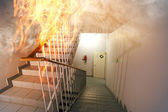 Fire in the staircase in the office — Stock Photo