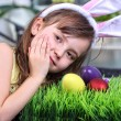 Little girl preparing traditional painted Easter eggs — Stock Photo #63853413