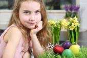 Lovely young girl getting ready for Easter — Stock Photo