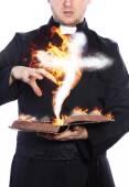 Spiritual rite - cursed book — Stock Photo