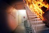 Fire in the building — Stock Photo