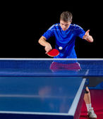 Table tennis player isolated — 图库照片