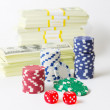 Gambling chips dices and heap of dollars — Stock Photo #65487317