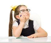 Little schoolgirl isolated — Stock Photo
