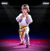 Küçük çocuk aikido fighter — Stok fotoğraf