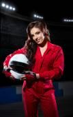 Girl with helmet at stadium — Fotografia Stock