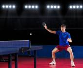 Table tennis player at sports hall — Stock Photo