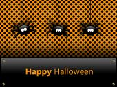 Halloween card with spiders and greetings — Stock Photo