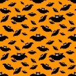 Halloween pattern with bats over orange background — Stock Photo #52402777