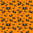 Halloween pattern with spiders over orange background — Stock Photo #52402813