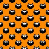 Halloween pattern with black owls and orange background — Stock Photo