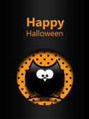 Halloween greetings card with black owl — Stock Photo