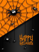Halloween greetings card with  black spiders  — Stock Photo