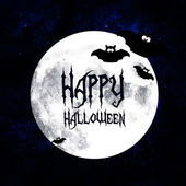Halloween greetings card with moon and bats — Stock Photo