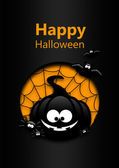 Halloween greetings card with black pumpkin, bats and spiders — Stock Photo