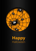 Halloween greetings card with spiders — Stock Photo