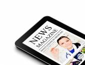 Tablet with nwes magazine page isolated over white  — Stock Photo
