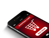 Mobile phone with  shopping cart isolated over white — Foto Stock