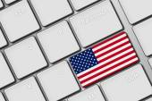 Computer keyboard with United States of America flag button — Stock Photo