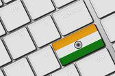 Počítačová klávesnice s indickými vlajka tlačítko — Stock fotografie