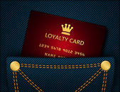 Loyalty card in blue jeans pocket — Foto Stock